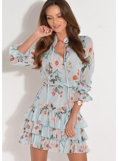 Sukienka szyfonowa z falbankami w kwiaty błękitna