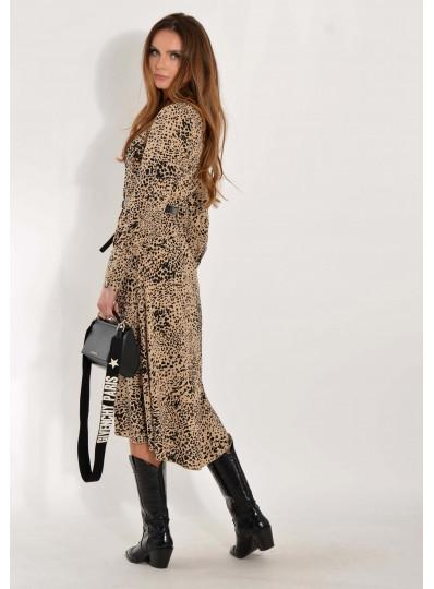 Sukienka Alison beżowa w cętki