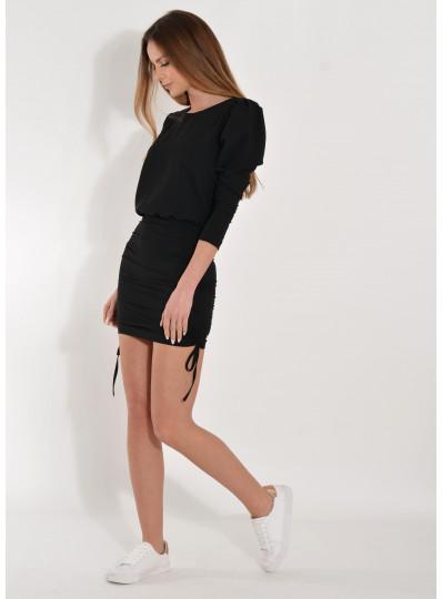 Sukienka ze ściąganym dołem czarna