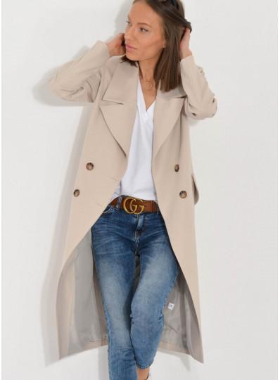 Płaszcz z dużymi klapami Mia beż