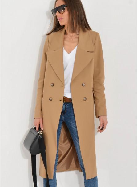 Płaszcz z dużymi klapami Mia camel