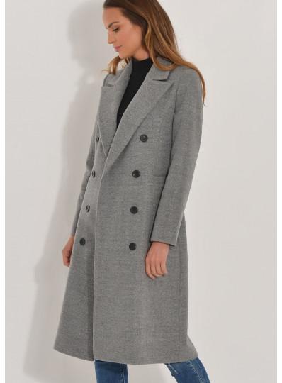 Dwurzędowy płaszcz Emy szary melanż