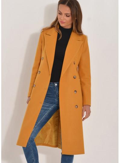 Dwurzędowy płaszcz Emy musztardowy