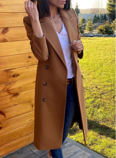 Dwurzędowy płaszcz Emy ciepły camel