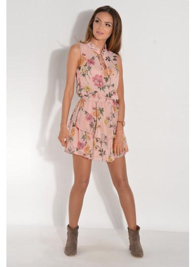 Sukienka szyfonowa w kwiatki  róż