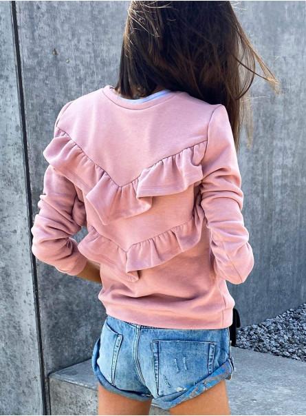 Bluza z falbanami na plecach jasny róż