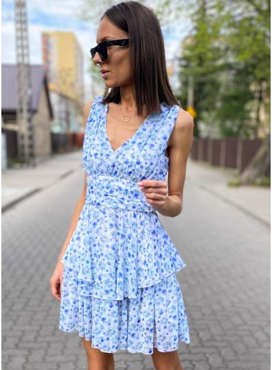 Sukienka szyfonowa w niebieskie kwiatki