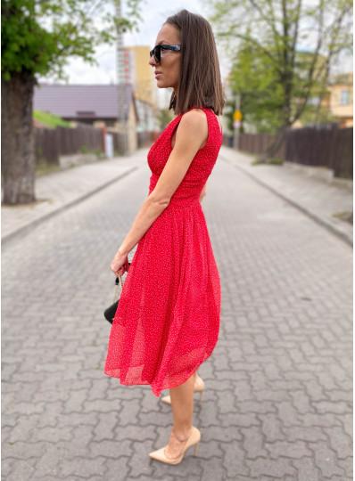 Sukienka szyfonowa midi czerwona w drobne groszki