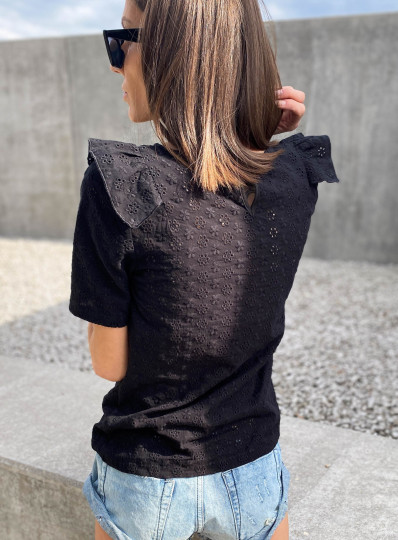 Bluzka z haftowanego batystu czarna