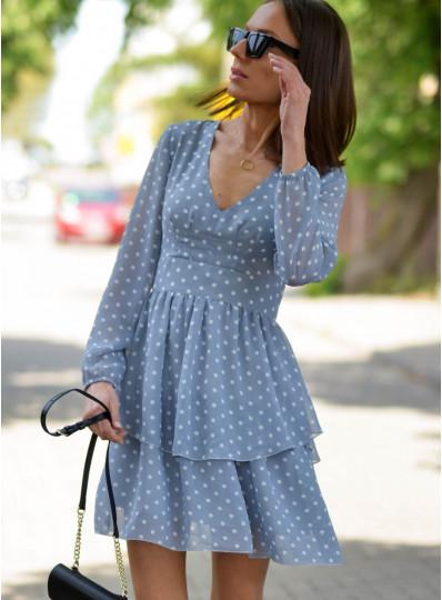 Sukienka Sara z odcinana pod biustem w groszki