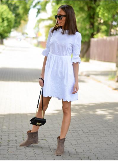 Sukienka Katia z haftowanego batystu biała