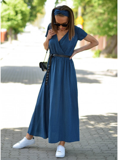 Sukienka Maxi z zakładanym przodem w groszki granat