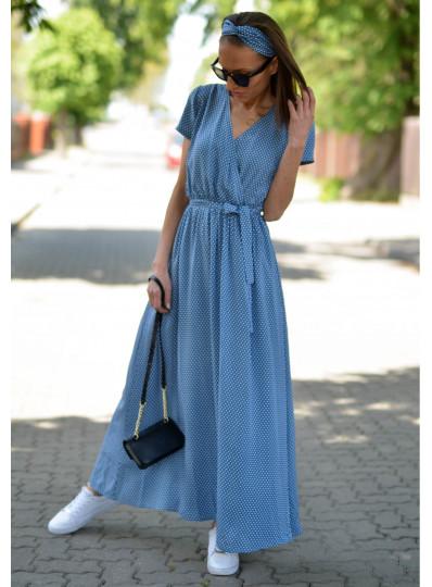 Sukienka Maxi z zakładanym przodem w groszki jeans