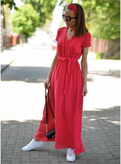 Sukienka Maxi z zakładanym przodem w groszki czerwona