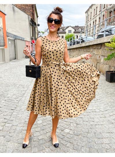 Sukienka z szarfą beżowa w grochy