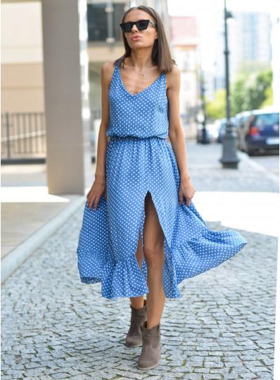 Sukienka Marcelina na ramiączkach jeansowa