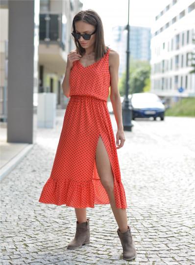 Sukienka Marcelina na ramiączkach orange