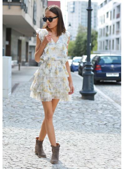 Sukienka motylkowa Lila śmietankowa