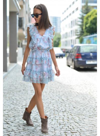 Sukienka motylkowa Lila błękitna