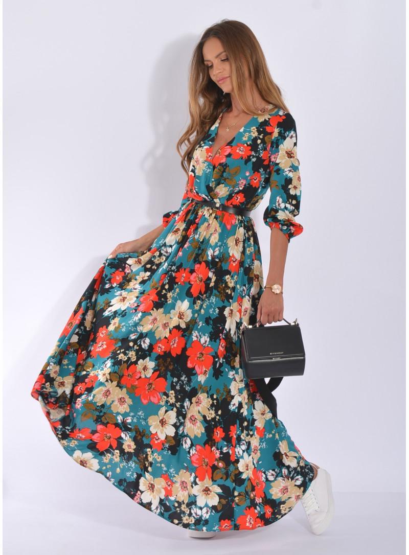 Sukienka w kwiaty zakładana granatowa | Sklep Internetowy