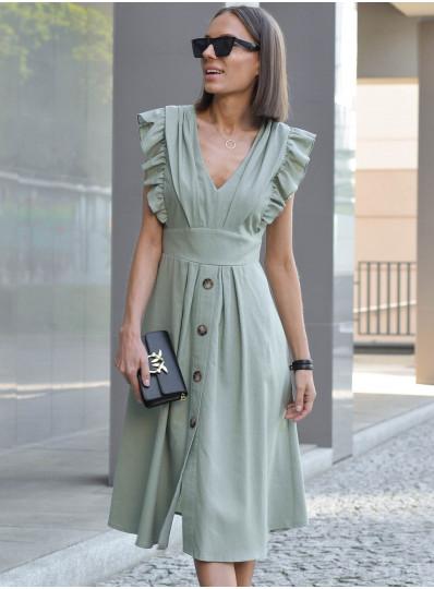 Sukienka z dodatkiem lnu pistacja