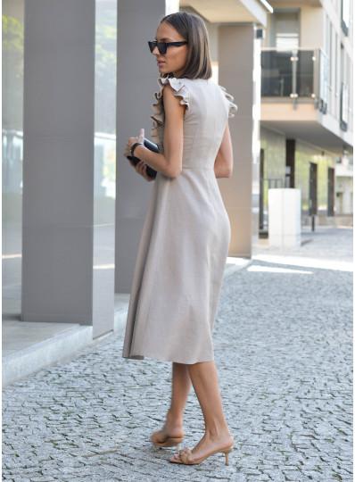 Sukienka z dodatkiem lnu beż
