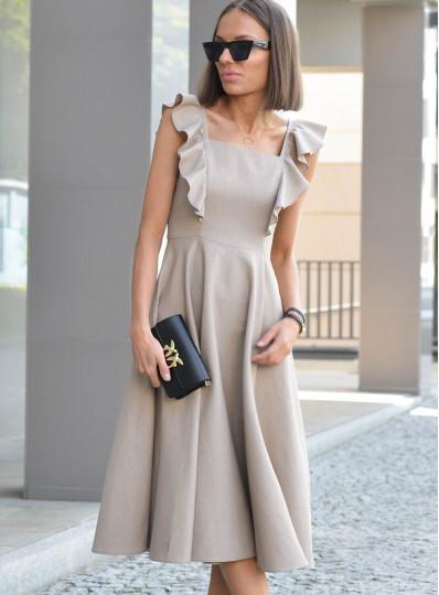 Sukienka midi z dodatkiem lnu