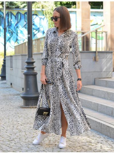 Sukienka przed kostkę w panterkę