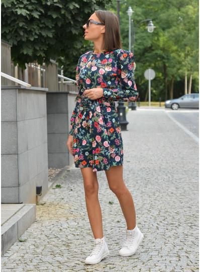 Sukienka Emira z szerokim wiązaniem granat