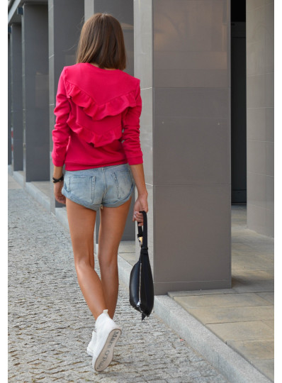 Bluza z falbanami na plecach magenta