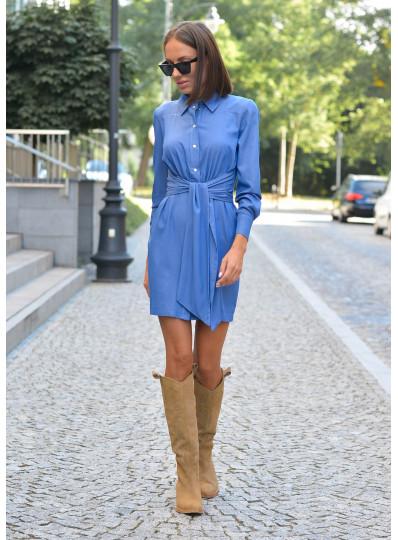 Sukienka jeansowa z szafrą