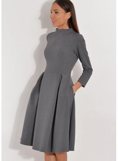 Sukienka ze stójką szara