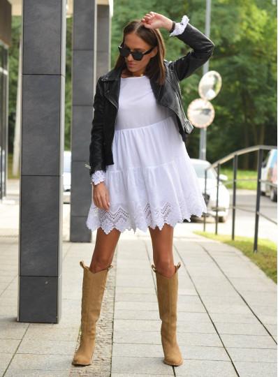 Bawełniana sukienka z haftem biała