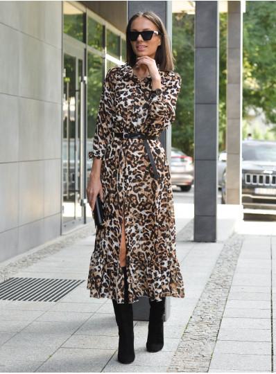 Szyfonowa sukienka Alia w panterkę