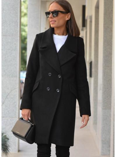 Pudełkowy płaszcz czarny