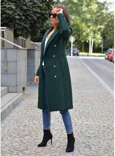 Dwurzędowy płaszcz Emy butelkowa zieleń