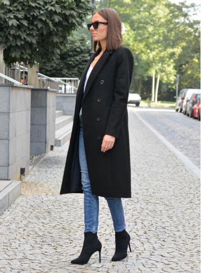 Dwurzędowy płaszcz Emy czarny