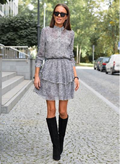 Sukienka szyfonowa w cętki