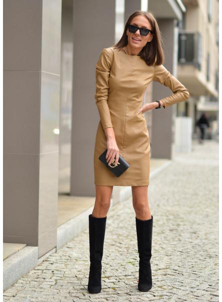 Sukienka z tkaniny woskowanej beż