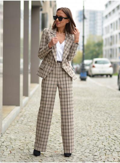 Spodnie z prosta nogawką w kratę