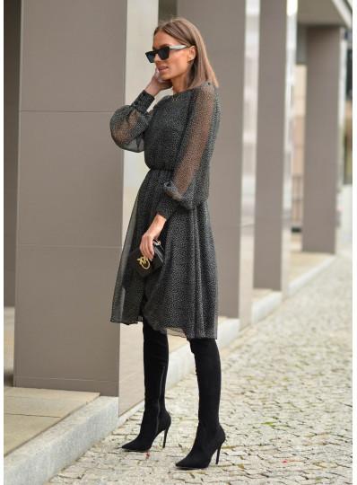 Sukienka szyfonowa z napuszczanymi rękawami