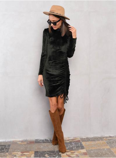 Ściągana sukienka z weluru khaki