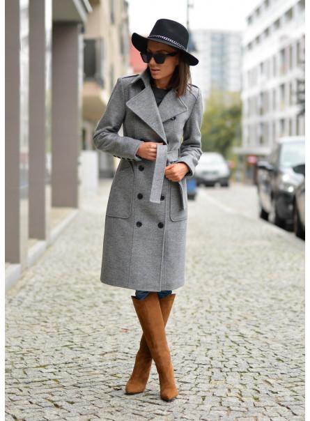 Płaszcz dwurzędowy z ociepleniem szary melanż