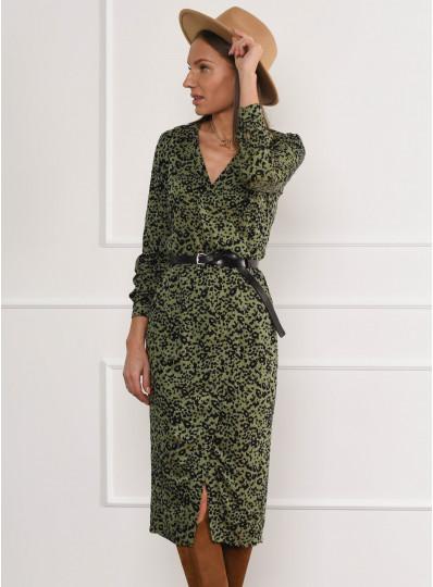 Sukienka z zakładanym przodem khaki
