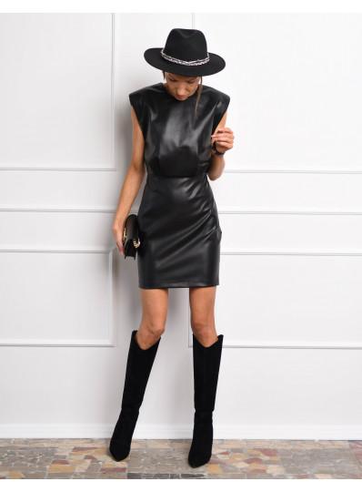 Sukienka z eko skóry z poduszkami czarna