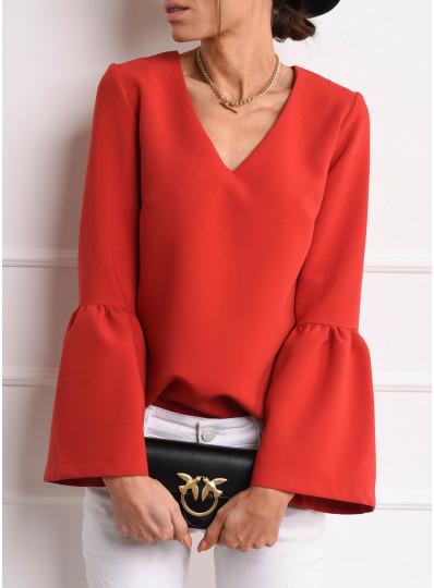Bluzka z kielichowym rękawem czerwona