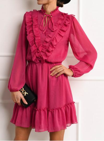 Sukienka szyfonowa Domenica z falbankami fuksja