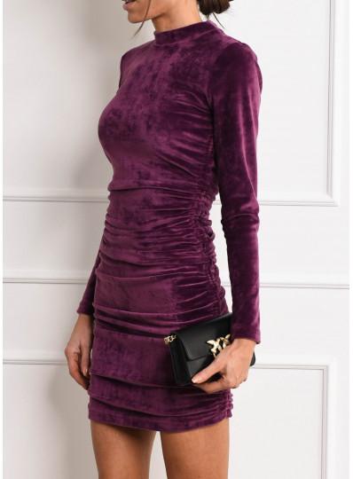 Drapowana sukienka z weluru