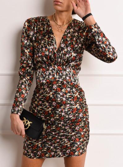 Sukienka z karbowanej tkaniny z drapowanym dołem