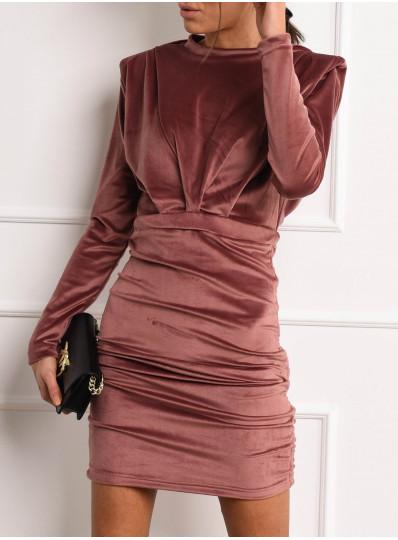 Sukienka PADDET SHOULDER welur antyczny róż